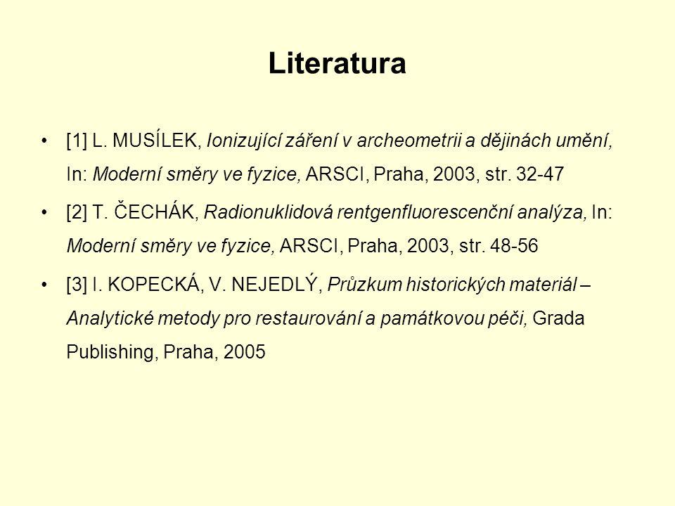 Literatura [1] L. MUSÍLEK, Ionizující záření v archeometrii a dějinách umění, In: Moderní směry ve fyzice, ARSCI, Praha, 2003, str. 32-47.